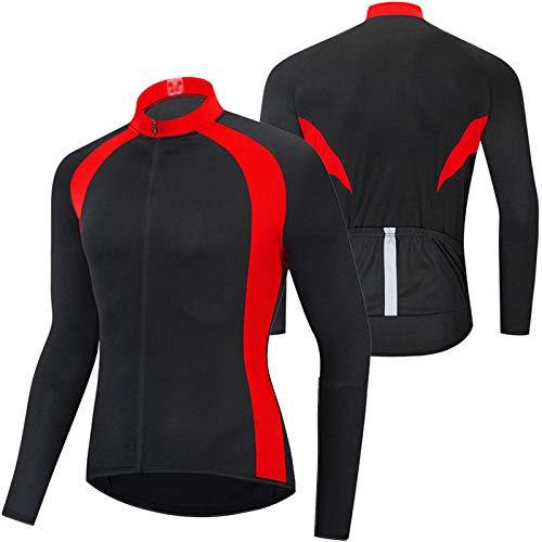 Verano Maillot Ciclismo Hombre Camiseta Ciclismo Manga Larga,Ultralight Transpirable MTB Camisa,Camiseta Ciclismo MTB,para Deportes y al Aire Libre Ropa Bicicleta(Size:XXL,Color:Rojo)
