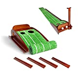Lakehood Golf Putting Mat - Putting Green with Ball Return, Putting matt for Indoors with Solid Wood Base & Rubber Velvet Putting Mat, Golf Putting Green Practice Equipment for Indoor & Outdoor Use