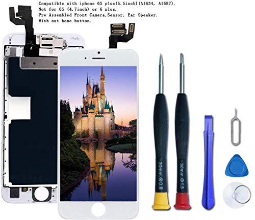 DTLake Kompatibel mit iPhone 6S Plus Display Schwarz,LCD Touchscreen Digitizer Display, Vormontiert mit Frontkamera und Hörmuschel Ersatzbildschirm Komplettes Werkzeug & Reparaturanleitung. (White)