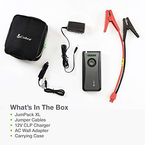 Cobra JumPackXL CPP12000 3-in-1 Portable Power Car Jump Starter: Battery Charger, Power Pack & LED Flash Light with Jumper Cables, 500 Amp Peak, 11,100mAh for Instant Power to Car, Boat, or Motorcycle, Gray, Small