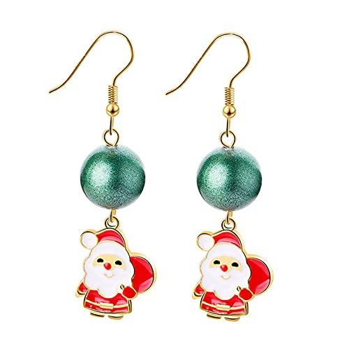 1 par de pendientes de Navidad para mujer, diseo navideo, joyas de aleacin elegante, pendientes de gancho, pendientes de vacaciones, regalos de Navidad