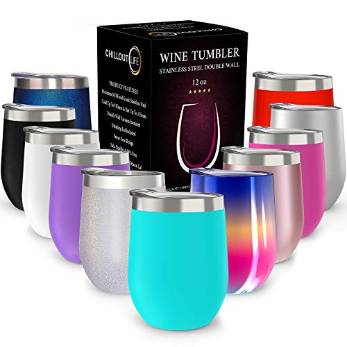 CHILLOUT LIFE 12 oz Stainless Steel Tumbler with Lid & Gift Box | Wine Tumbler Double Wall Vacuum Insulated Travel Tumbler Cup for Coffee, Wine, Cocktails, Ice Cream | Sweat Free, Powder Coated Tumble