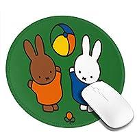 Miffy! Miffyかわいいマウスパッドラウンド ユニークなファッション、柔軟でかわいい ラバーバックゲーミングマウスパッド PCラップトップオフィスラウンドデスクマット滑り止めと耐久性のある興味深いパターン