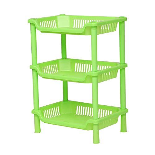 Uxcell - Estantería de ducha de plástico de 3 capas pequeñas, cesta cuadrada de escritorio, estantería de baño para el hogar y la cocina
