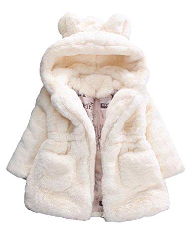 Mallimoda Mädchen-Winterjacke mit Kapuze, Kunstfell-Fleece-Jacke -  Weiß -  7-8 Jahre