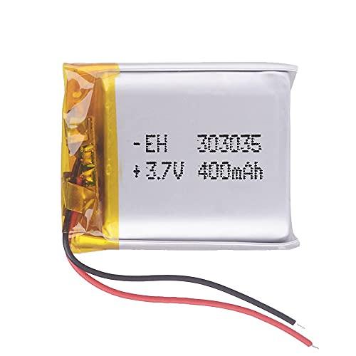 Batería 303035 LiPo 3.7V 400mAh 1.48Wh 1S 5C Liter Energy Battery para Electrónica Recargable teléfono portátil vídeo mp3 mp4 luz led GPS - No Apta para Radio Control 37x30x3mm (3.7V 400mAh 303035)