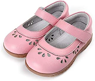 SandQ baby Girls Pink Leather Mary Jane Shoe with Cutouts