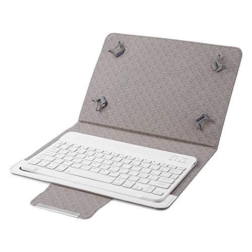 Teclado Bluetooth Práctico Textura clásica Funda de Cuero PU Lavable Multifuncional Soporte para Tableta de 9 10 Pulgadas-_Blanco