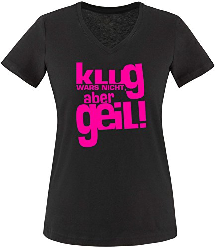 Luckja Klug war es Nicht Aber Geil Damen V-Neck T-Shirt