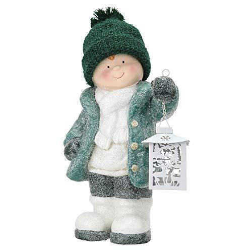 Gilde Dekofigur Winterkind Junge aus Magnesia mit weißer Laterne, 44x23x14,5cm, grün, weiß, 1 Stück