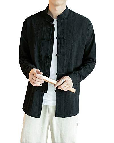 Homme Veste De Tang Chinois Vêtement Tai Chi Kung-Fu Chemise en Coton De Chanvre Noir XL