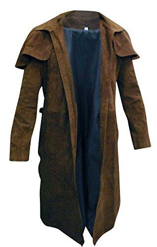 Fashion_First Herren A7 Vega Veteran Ranger Ranger Kostüm NCR Trenchcoat Leder Mantel Gr. L, A7 brauner Mantel aus Veloursleder.