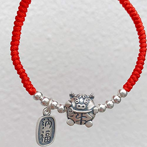 JIACUO Fashion Gift,Feng Shui Wealth Bracelet for Women 990 Pure Silver Lucky Cute Bull Silver Bead Red Rope Bracelet Zodiac Bracelet Attracts Wealth And Good Luck