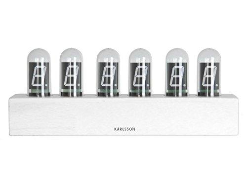 Karlsson - Tischuhr - Cathode - Bambusholz - weiß - 28 x 11 cm
