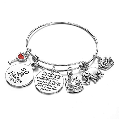 malyunin Birthday Gifts for Women Girls Bracelet - Expandable Charm Bracelets Birthday Bangle for Friend, Mom, Daughter, Sister, Wife, Grandma Jewelry Present (50th)