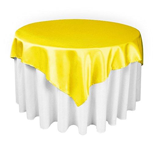 LinenTablecloth 60-Inch Square Satin Overlay Lemon