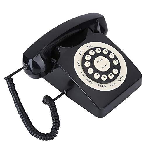 Jopwkuin Teléfono con Cable Vintage, Teléfono Antiguo Retro con pulsadores Teléfono con Cable Negro Llamada de Alta definición pasada de Moda para la decoración de la Oficina en casa