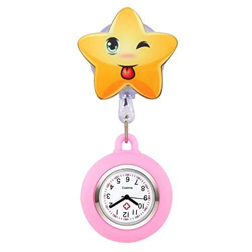 JSDDE Uhren Süß Schwesternuhren Stern Form Krankenschwesteruhr FOB-Uhr Silikon Hülle Pulsuhr Pflegeuhr Tunika Brosche Taschenuhr Ansteckuhr Analog Quarzuhr (Rosa)