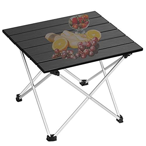 EDEUOEY Aluminium Klapp Camping Tisch: Roll Up Top wasserdichte Tasche Familie Kochen Wandern Sand Picknick Niedrig Mini Compact End Backpacking Outdoor Strand Zusammenklappbar Leicht Klein