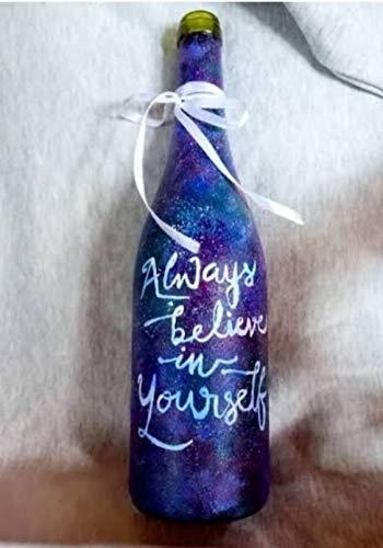 Crafting with Love Un hermoso jarrón decorativo de cristal pintado a mano para decoración del hogar/sala de estar o se puede utilizar como una maceta. Material: cristal, color: azul.