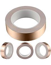 Geepro koperfolie tape met geleidende lijm (30,48 mm X 25,60 m) - EMI afscherming geleidende lijm voor glas in lood, papieren circuits, elektrische reparaties (0,06 mm dikte)