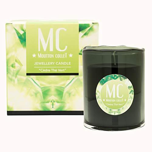 Moutton Collet – Vela perfumada con joya – Joya: pendientes de cristal Swarovski Peridot – Fragancia: cedro té verde – cera natural vegetal