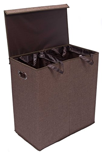 BirdRock Home Double Laundry Hamper with Lid and Removable Liners - Linen - Easily Transport Laundry - Foldable Hamper - Cut Out Handles