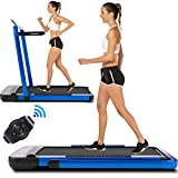 ANCHEER Folding Treadmill for Home,2-in-1 Treadmill with Remote Control, Installation-Free, Under Desk Treadmill for Family/Office Gym Cardio Fitness(Blue)
