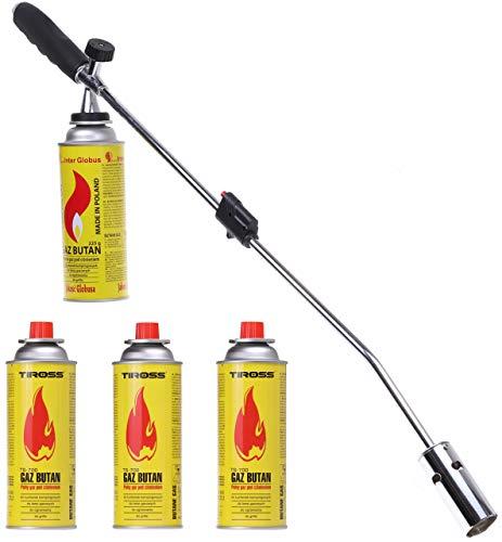 DREL UNKRAUTVERNICHTER UNKRAUTBRENNER MIT 4 GASKARTUSCHEN SET BUTAN GAS Gasbrenner Brenner Abflammgerät (5)