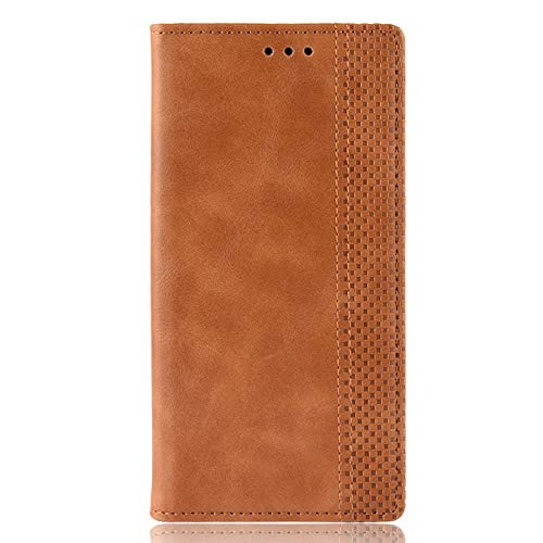 BOWFU Premium Leather Case for Xiaomi Poco M3, Flip Cover with [Magnetic Closure] [Card Slots] [Horizontal Viewing Stand] [Durable Frame] Folio Case-Brown