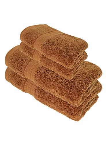 Julie Julsen Juego de toallas de ducha (4 piezas, 2 toallas de ducha, 2 toallas de mano, 100% algodón, 550 g/m²), color marrón