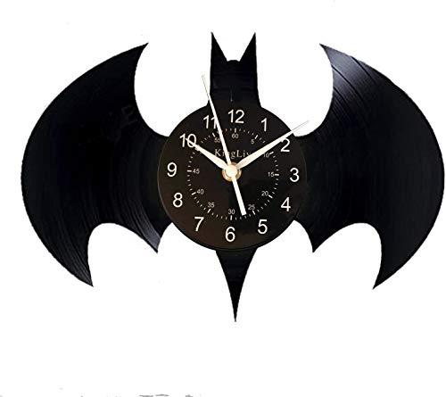 KingLive Batman Superhero Emblem Vinyl Record Wall Clock - Get unique kids room or bedroom wall decor - Gift ideas for youth and kids (UK-Batman no led 6)