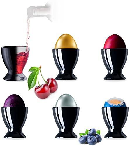 PLATINUX Schwarze Eierbecher aus Glas Set 6-Teilig Eierständer Eierhalter Frühstück Brunch Egg-Cup Likörgläser max. 35ml