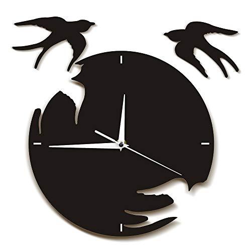 LucaSng Reloj De Pared De Golondrinas Pájaros Volando Arte De Pared Moderno Arte De Aves Voladoras Decoración del Hogar Natural Reloj De Pared Colgante Golondrinas Regalo
