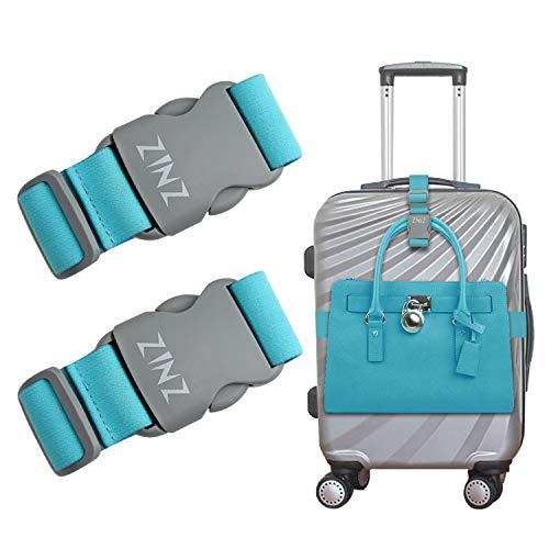 ZINZ 2 Piezas de Correas de Equipaje Cinturón de maletas, Correas de bolsa pesadas de alta elasticidad Bungees Accesorios de viaje ajustables con hebillas, Verde claro