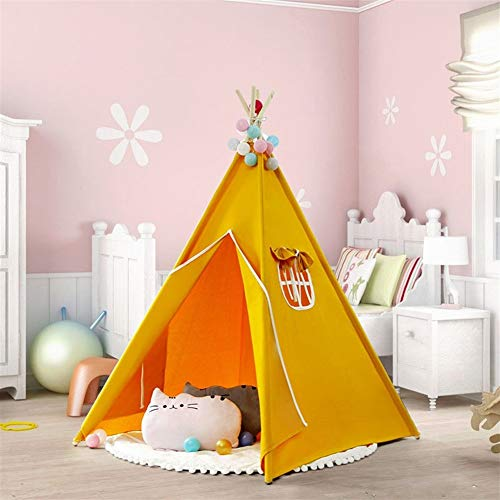 Play house BeigKids Teepee Indoor and Outdoor Play,Children Play Tents without Mat,Great For Playroom Bedroom Nursery Photography Props,new Year Birthday Gift,Easy to assemble,4 Poles Cotton canvas Pl