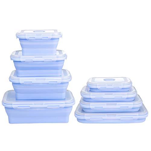ZWOOS Silikon zusammenklappbaren Container, 4 Stück wiederverwendbar Zusammenklappbare Silikon-Aufbewahrungsboxen Faltbare Frischhalteboxen Bento Lunchboxen für Mikrowellen, Kühlschränke (Blau)