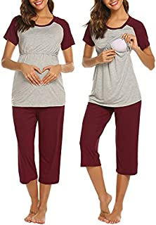Ekouaer Women Maternity Carpi Pants/Shorts Pajamas Set...