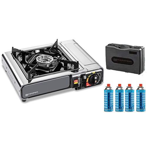 Réchaud à gaz NOMADE INOX KEMPER + 4 cartouches 227gr 2200W Allumage piezo Sécurité insert gaz