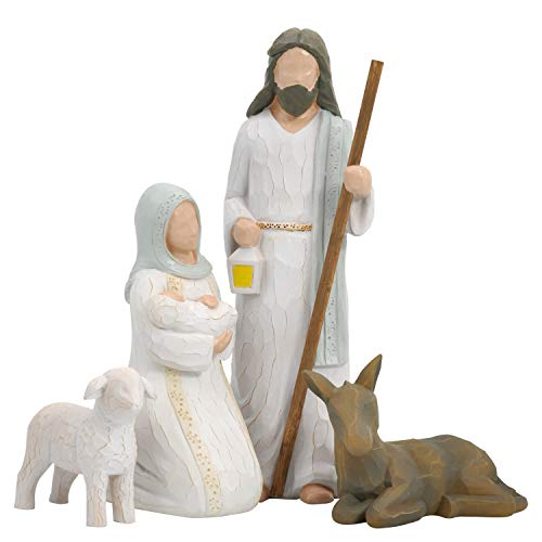 Xmas Decorations Figurines Set - Sculpted Style with Joseph, Mary Hold Baby Jesus, Donkey and a Lamb for Holiday Decoration and Christmas Eve Decor