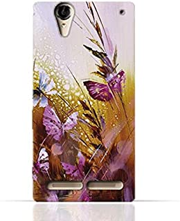Sony Xperia T2 Ultra TPU Silicone Case with Butterfly Oil Paint Pattern