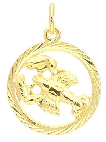 MyGold Sternzeichen Anhänger Krebs (Ohne Kette) Gelbgold 333 Gold (8 Karat) Ø 15mm Rund Tierkreiszeichen Horoskop Sternbild Goldanhänger Gavno A-04433-G302-Kre
