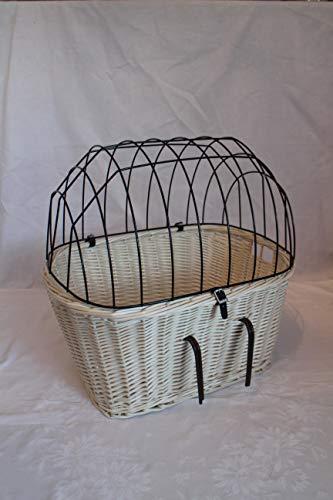 Marcus´ Weidenhandel Hundefahrradkorb für Fahradlenker aus Weide mit Metallgitter und Kissen L, XL oder XXL in Weiß (XXL ohne Kissen)