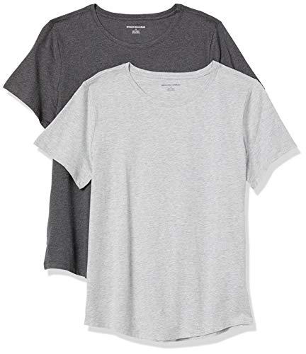 Amazon Essentials Women's 2-Pack Classic-Fit 100% Cotton Short-Sleeve Crewneck T-Shirt, Charcoal Heather/Light Grey Heather, X-Large