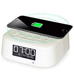 Homtime Wireless Charging Bluetooth Alarm Clock Radio, 2 Alarms, Bluetooth Speaker, Fast Charger, Sleep Timer, Snooze, Digital LCD with Dimmer and USB Charging Port for Mobile Phones(White)
