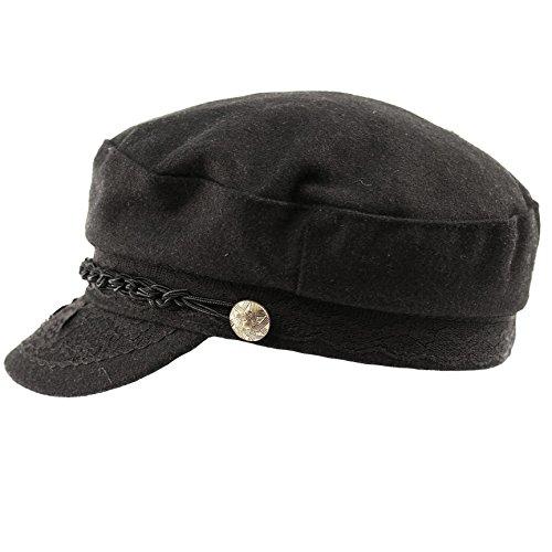 Epoch hats Men's Greek Fisherman Sailor Fiddler Winter Wool Driver Hat Flat Cap (L/XL, Black)