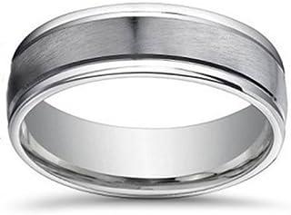 7mm Brushed Flat Platinum Mens Comfort Fit Wedding Band