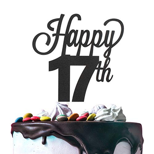 LINGTEER Happy 17th Birthday Black Cake Topper Perfect for Cheers to Seventeen Years Old Birthday Party Gift Decorations Sign.