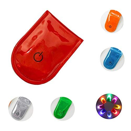 Veaoiy LED Sicherheitslicht Clip Reflektoren Kinder Magnetic Flashing Light Lauflicht Joggen Blinklicht Reflektor Anhänger Fahrrad Reflektoren (PVC-Rot)