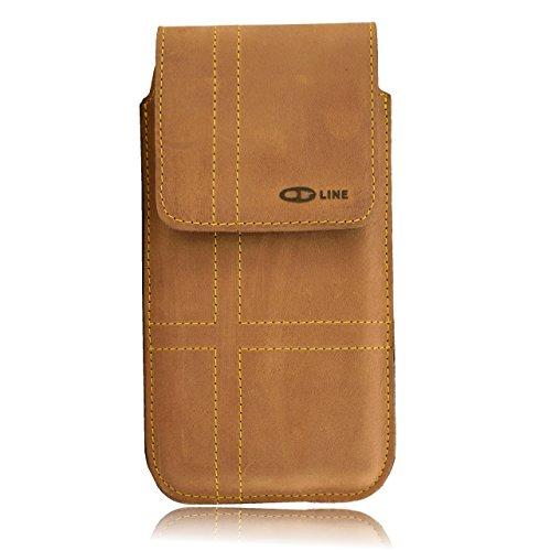OrLine Holster Funda Vertical para teléfono móvil HTC One M8Funda para cinturón y trabilla Slim Design Case Funda De Piel Funda Funda Hecho a Mano en Color marrón Nobuck con Cierre magnético